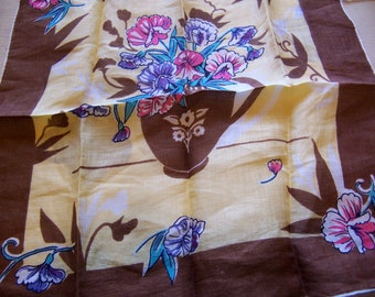 brown and yellow vintage hanky