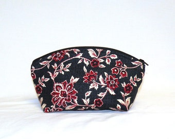 Extra Large Domed Make Up Bag in a beautiful floral in red, cream, black and grey
