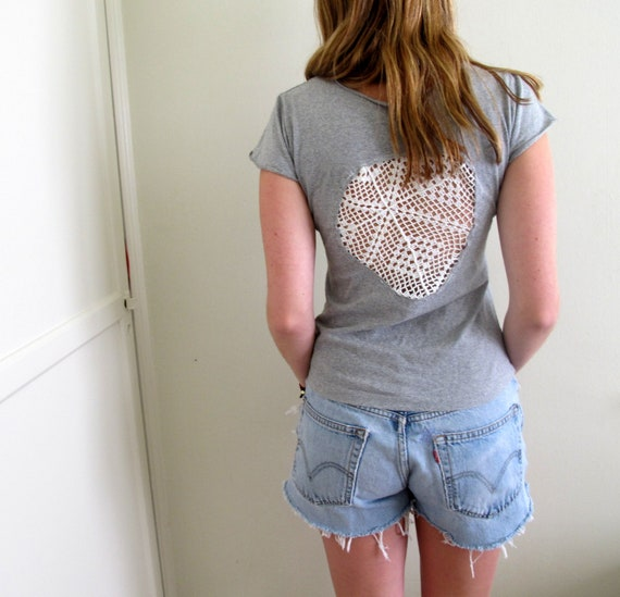 See through back lace tee shirt womens by inzoopsia on etsy for Shirts with see through backs