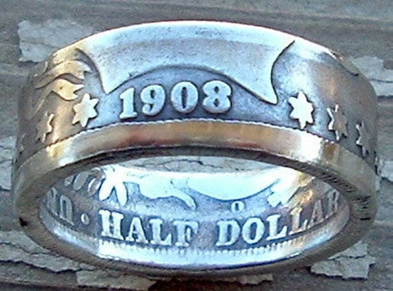 1908 Barber Half Dollar Coin Ring in a Size 10  (90 Percent Silver)