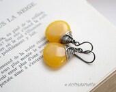 Golden drop, sterling 925 silver earrings