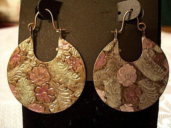 Flower Leaves Discs Pierced Wire Earrings Vintage Brown Pink Green Embossed Dangles