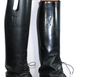 Vintage black low heel campus Riding Equestrian knee high womens tall Leather fashion boots 8.5 A