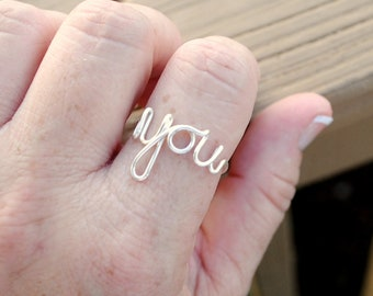 You Ring, Word Ring, Adjustable or Fitted Non Tarnish Silver Plated Wire