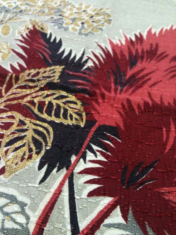 1950s Vintage Amaranth and Hydrangea Scarlet Grey and Gold Barkcloth Crash Decor Fabric