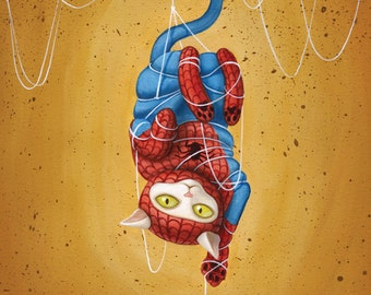 Spideycat - 8 x 10 art print - cat dressed like spiderman hanging from web yellow ochre white kitty cat toy