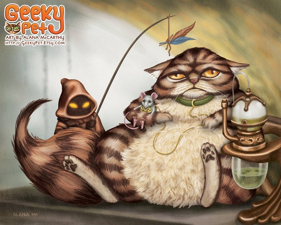 Jabba the Cat - 10x8 art print -  Star Wars Jabba cat holding slave Leia mouse with a Jawa cat entertaining him with a feather toy