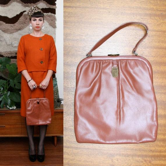 Vintage 60s Framed Light Brown Purse