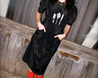 onemanband.  Original Fork SPOON Knife DRESS in Black with Pockets