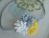 Grey Yellow and White Felt Flower Mums Headband- Perfect Newborn Photo Prop - MyLittlePixies