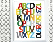 ABC wall art, Alphabet Print for Boys, Modern Decor New Baby Gift - Letters and Numbers Print