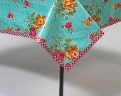 Rose and Grid Aqua Oilcloth Tablecloth You Pick the Size