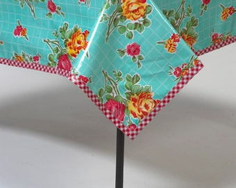 Rectangular Rose and Grid Aqua Oilcloth Tablecloth You Pick the Size