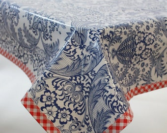 Toile Blue with Red Gingham Trim Oilcloth Tablecloth