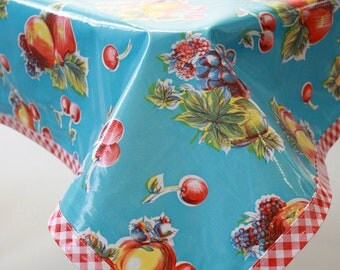 48x48 Retro Fruit Light Blue with Red Gingham Trim Oilcloth Tablecloth