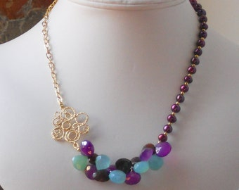 The Grapes and Grace Dujour Peruvian Blue and Mystic Amethyst Chalcedony Necklace