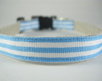 Hemp Dog Collar - Light Blue and White - UNC or Argentina - 3/4in