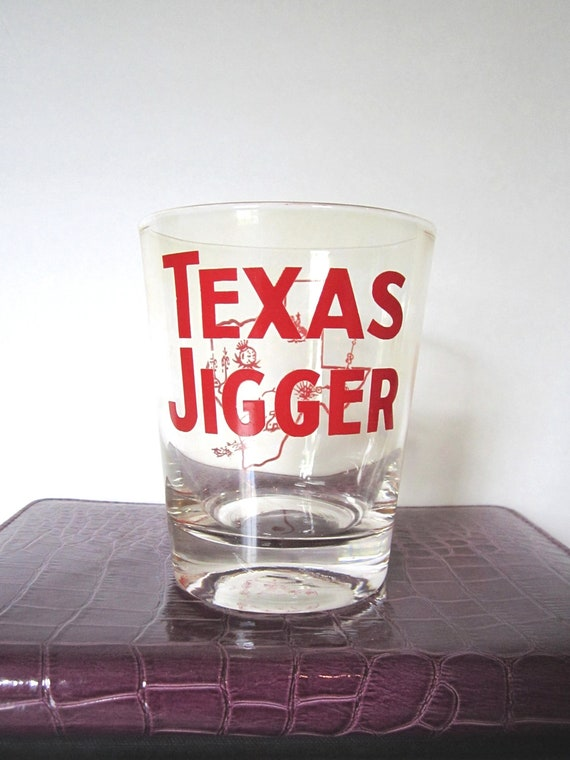 Texas Jigger Bar Glass - Great State of Texas - FREE Shipping