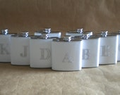 Bridesmaids Gifts Special 9 White Sparkly or ANY Color Sparkly 6 ounce Flasks ALL with Rhinestone Initials KR2D 5872