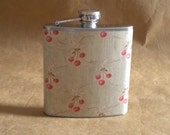Ladies Gift on SALE Cherries Print 6 ounce Stainless Steel Girly Gift Flask KR2D 6475