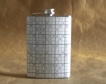 Ready to Ship SALE Flask with Sudoku Puzzle Print Stainless Steel 8 ounce Flask KR2D6207