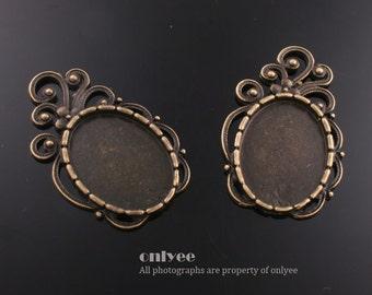 4PCS-40mmX25mmAntique Bronze Plated Brass Pendant tray Settings(E321B)
