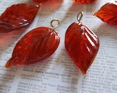Carnelian Rust Orange Glass Leaf Charms Beads Leaves with Brass Loops 24mm X 14mm - Qty 12