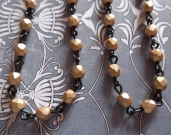 Bead Chain Opaque Matte Gold 4mm Fire Polished Glass Beads on Jet Black Beaded Chain - Qty 18 Inch strand