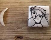 My little girl - ceramic art brooch