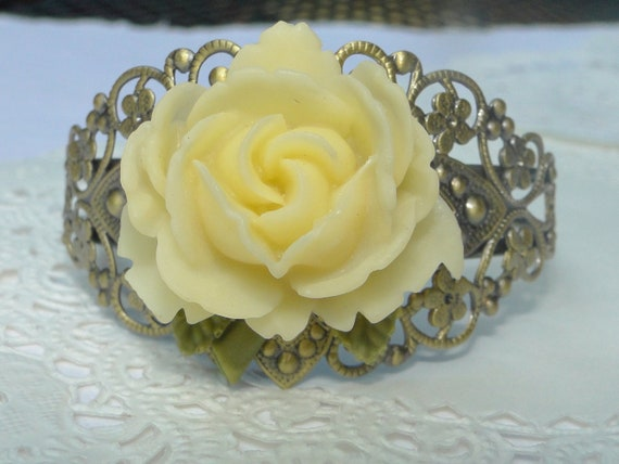 White Blooming Rose Bracelet on Filigree Cuff with Green Leaves