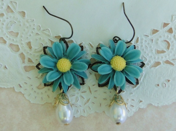 Gerbera Daisy Flower Earrings in Teal Blue and Yellow With Glass Pearl Drop Charm