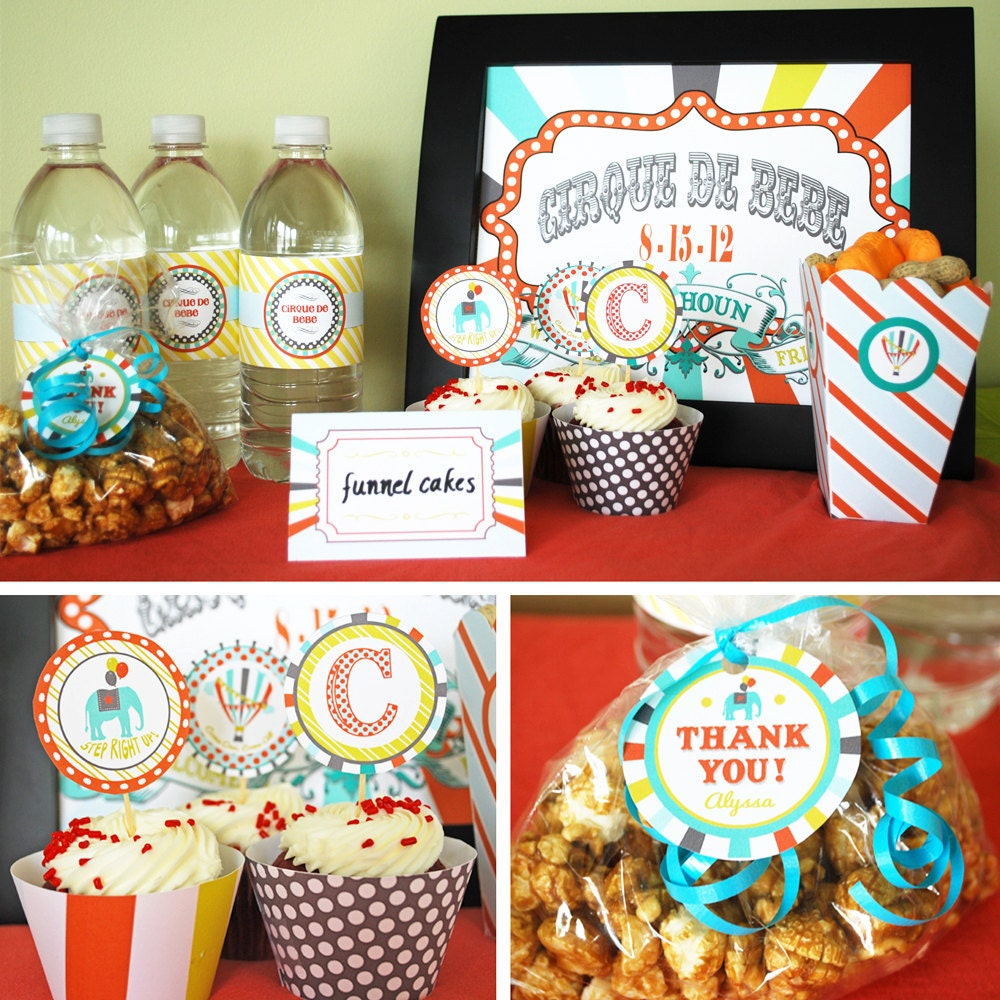 circus baby shower printable collection custom invitation