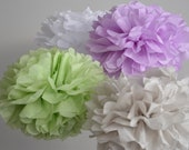 Baby Shower Decorations - Set of 12 Hanging Tissue Paper Pompoms or Tissue Paper Flower Centerpieces - Your Colors