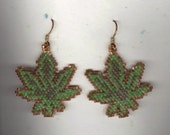 Cannabis Pot MaryJane Marijuana Leaf Beaded Earrings Pierced Ears Jewelry Glass Seed Beads Brick Stitched