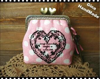 Pink Heart Vintage-style heart-bead metal frame purse / Coin Wallet / Pouch coin purse / Kiss lock frame purse bag-GinaHandmade