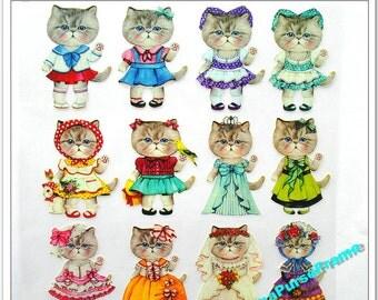 Fabric Stickers -Fashion Cat