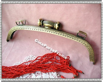 26cm (10 1/4 inch) slap flower-bead embossed vintage metal purse frame (color antique brass)-1piece