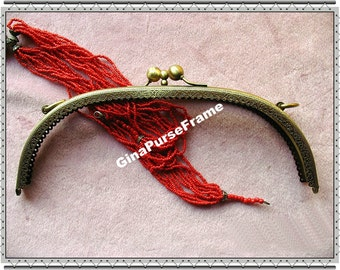 26cm (10inch) Double-clip Ball bead Embossed metal purse frame (antique brass color)-1piece