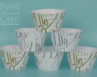 Cupcake Wrapper, I Do, Printable Set For Your Wedding, Bridal Shower Or Any Day - Simply Print, Cut, Assemble, Enjoy