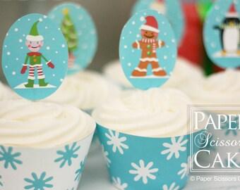Let It Snow Printable Christmas Topper Wrapper Set With Santa, Snowman, Gingerbread Man, Elf, Penguin- Simply Print, Cut, Assemble, Enjoy