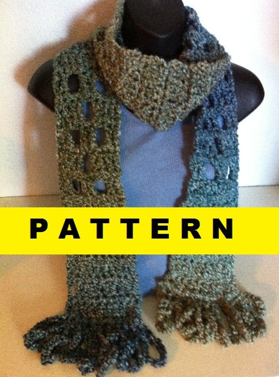 Crochet Pattern For Scarf With Homespun Yarn : CROCHET PATTERN Homespun Scarf by CROCHETBYMELISSA on Etsy