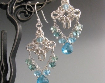 Byzantine Diamond Chain Mail Earrings with Apatite