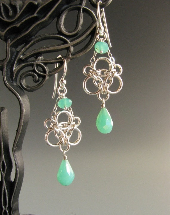 Aura Weave Chainmaille Earrings with Chrysoprase