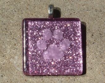 Etched glass sparkly pink paw print pendant