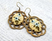 Hand Embroidered Yellow Floral Earrings, eco friendly, vintage silk jewelry