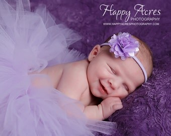LAVENDER TUTU Set....baby tutu, newborn tutu, baby photography prop, headband included...newborn-24 month available