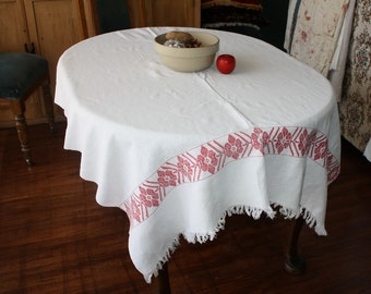 Antique Linen Tablecloth Ethnic Folk Hand Woven Turkey Red Borders 48 x 67