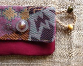 Coin Purse Cardholder in Unique Vintage Burgundy Retro Geometric Cotton - Red, Maroon and Pink