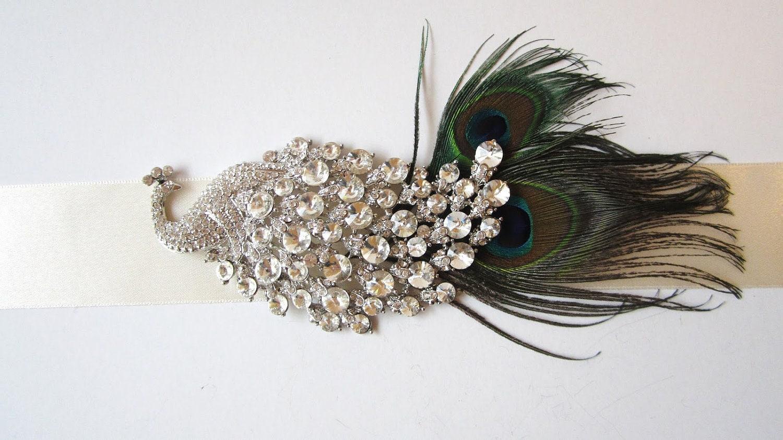 Beautiful peacock wedding dress sash by nataliebriggs on etsy for Peacock wedding dress sash