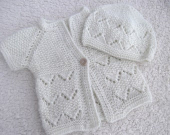 Sleeveless Cardigan and Hat Baby Girl Set. Hand Knit Baby Girl Cardigan. Hand Knit Baby Girl Hat.